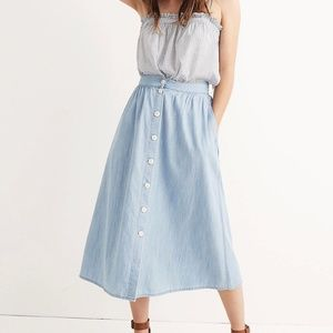 Madewell Palisade Button-Front Midi Skirt in Indig